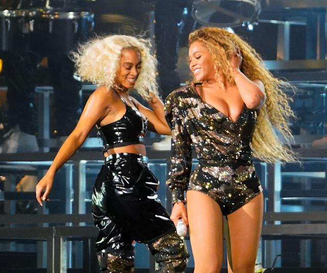 "<p>A true sister act! Bey shared the stage with Solange at one point — and apparently this photo is good enough to be shared with the world. <a href=""http://www.nme.com/news/music/beyonce-headline-coachella-2018-unflattering-photos-2293308"" rel=""nofollow noopener"" target=""_blank"" data-ylk=""slk:The queen reportedly didn't want fans to take pix of her during the show and post them on social media"" class=""link rapid-noclick-resp"">The queen reportedly didn't want fans to take pix of her during the show and post them on social media</a>. (Photo: Splash News) </p>"