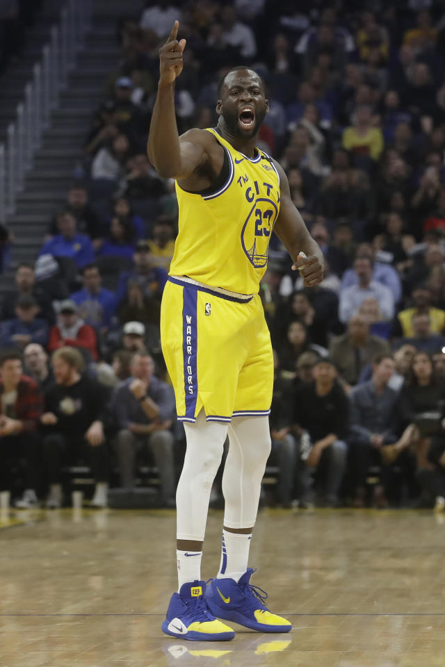 Golden State Warriors forward Draymond Green gestures toward officials after being called for a second technical foul during the first half of his team's NBA basketball game against the Los Angeles Lakers in San Francisco, Thursday, Feb. 27, 2020. (AP Photo/Jeff Chiu)