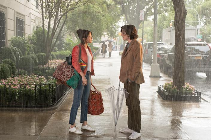 """Timothée Chalamet and Selena Gomez in """"A Rainy Day in New York."""" <span class=""""copyright"""">(Jessica Miglio / Signature Entertainment)</span>"""