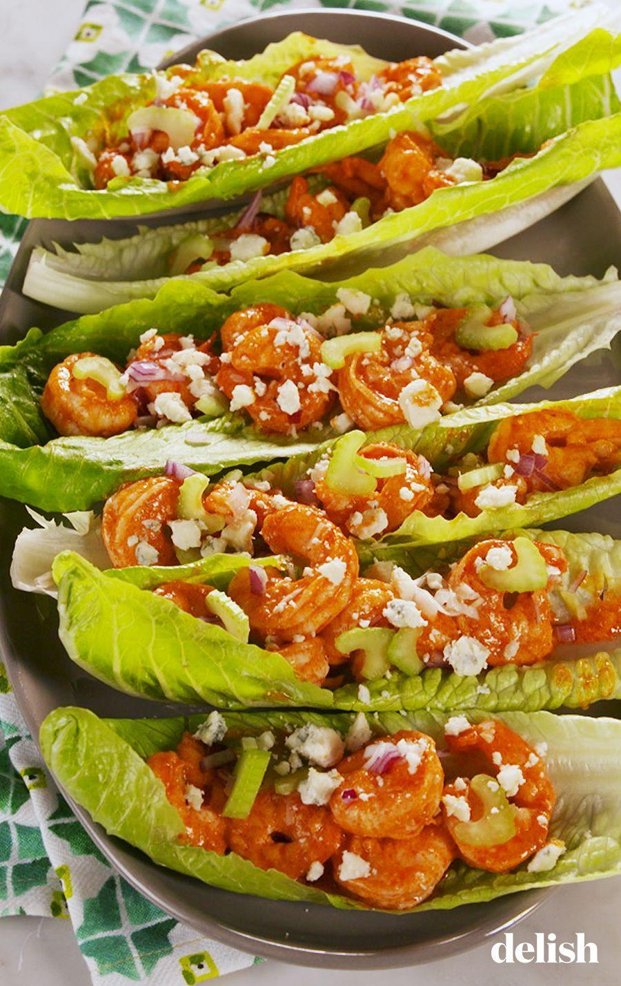 """<p>A healthy take on your favorite wings. </p><p>Get the recipe from <a href=""""https://www.delish.com/cooking/a26331032/buffalo-shrimp-lettuce-wraps-recipe/"""" rel=""""nofollow noopener"""" target=""""_blank"""" data-ylk=""""slk:Delish"""" class=""""link rapid-noclick-resp"""">Delish</a>.</p>"""