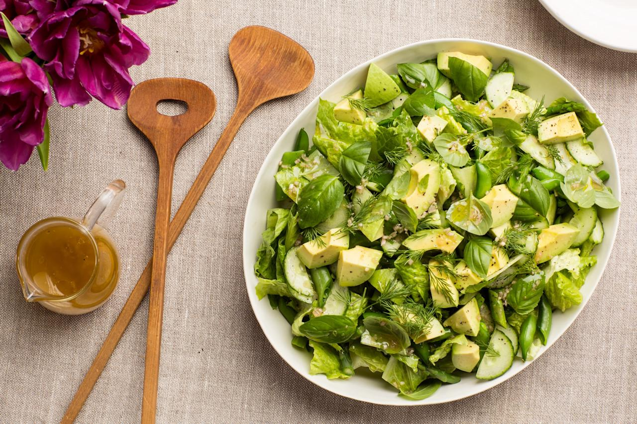 """This all-green salad is studded with creamy avocado, crunchy cucumbers, and asparagus, and punctuated by tons of fresh dill and basil. The varied shades of green look like spring in a bowl. <a href=""""https://www.epicurious.com/recipes/food/views/all-green-salad-with-citrus-vinaigrette-56389342?mbid=synd_yahoo_rss"""">See recipe.</a>"""