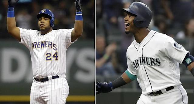 Jesus Aguilar of the Milwaukee Brewers (left) and Jean Segura of the Seattle Mariners won the MLB All-Star Game Final Vote. (AP Photos)