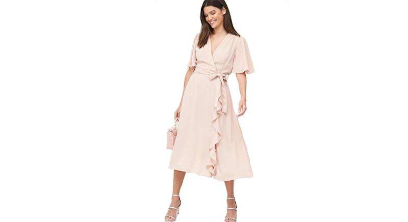 V by Very Vienna Wrap Frill Midi Dress