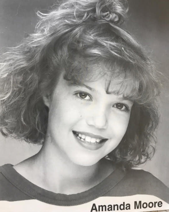 "<p>Moore shared her first headshot, which shows her with the kind of voluminous 'do that a lot of teenage girls rocked in the days of scrunchies and perms. ""Don't let anyone tell you otherwise; permed bangs are always a good idea,"" she joked. (Photo: <a href=""https://www.instagram.com/p/BVru8GrHiBJ/?hl=en&taken-by=mandymooremm"" rel=""nofollow noopener"" target=""_blank"" data-ylk=""slk:Mandy Moore via Instagram"" class=""link rapid-noclick-resp"">Mandy Moore via Instagram</a>) </p>"