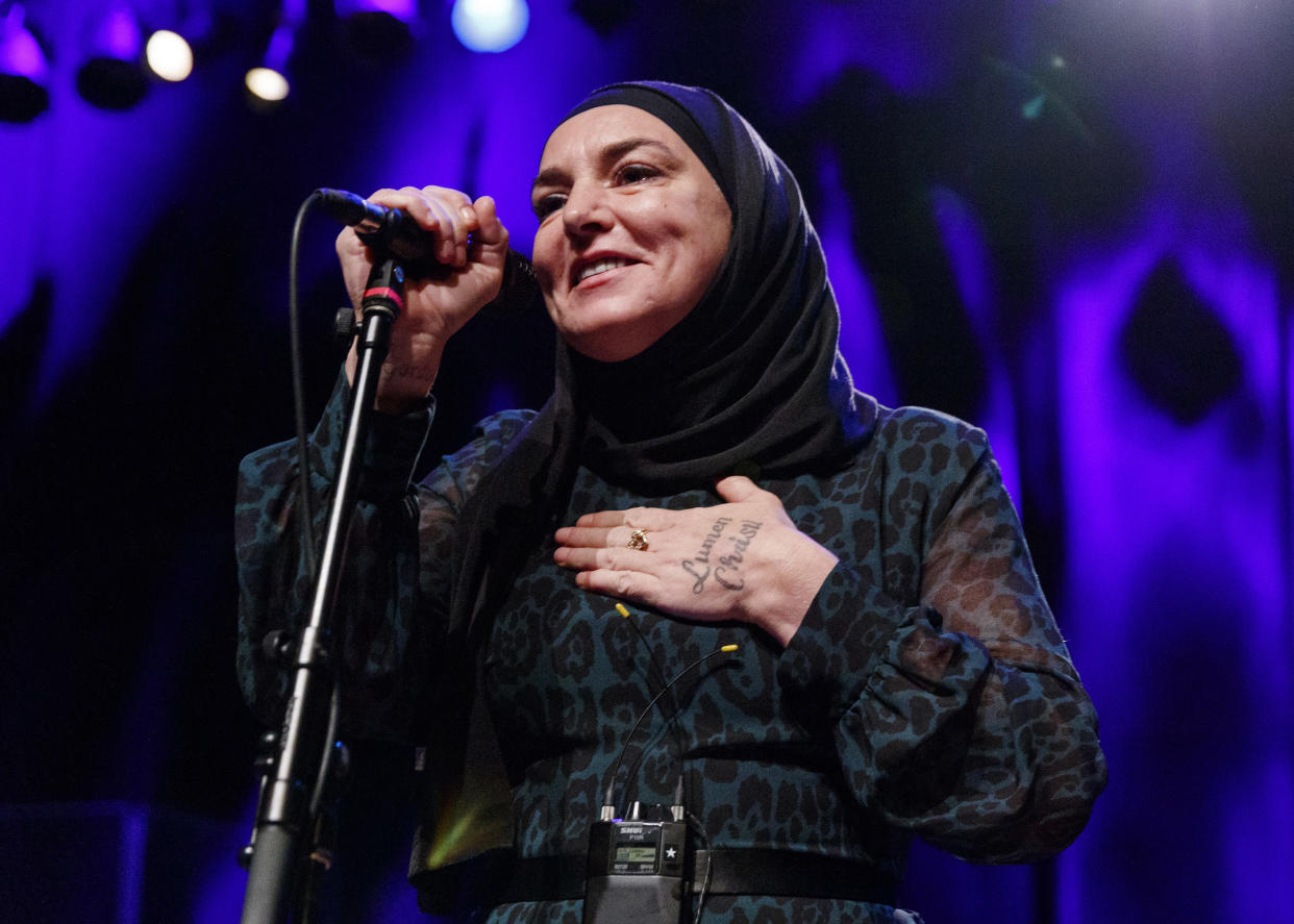 VANCOUVER, BRITISH COLUMBIA - FEBRUARY 01: Singer-songwriter Sinead O'Connor performs on stage at Vogue Theatre on February 01, 2020 in Vancouver, Canada. (Photo by Andrew Chin/Getty Images)