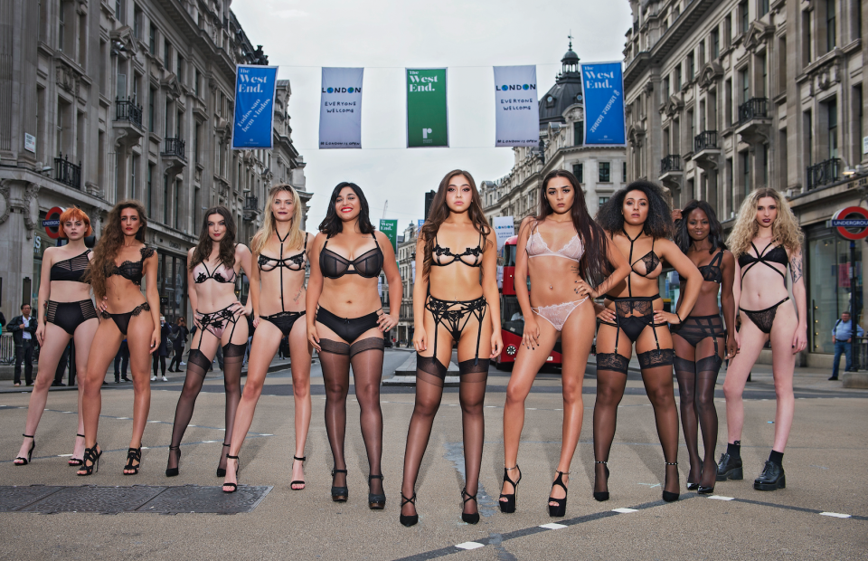 Lingerie brand Bluebella staged a catwalk on Oxford Street to celebrate body confidence [Photo: Bluebella]