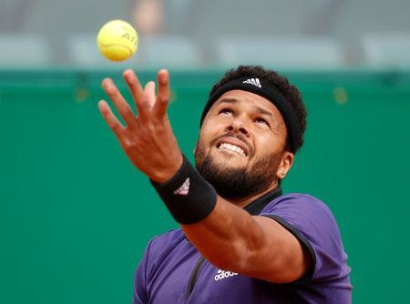 FILE PHOTO: Tennis - ATP 1000 - Monte Carlo Masters - Monte-Carlo Country Club, Roquebrune-Cap-Martin, France - April 16, 2019 France's Jo-Wilfried Tsonga in action during his first round match against Taylor Fritz of the U.S. REUTERS/Eric Gaillard