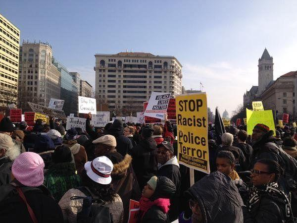 Protesters in Freedom Plaza on Dec, 13, 2014.