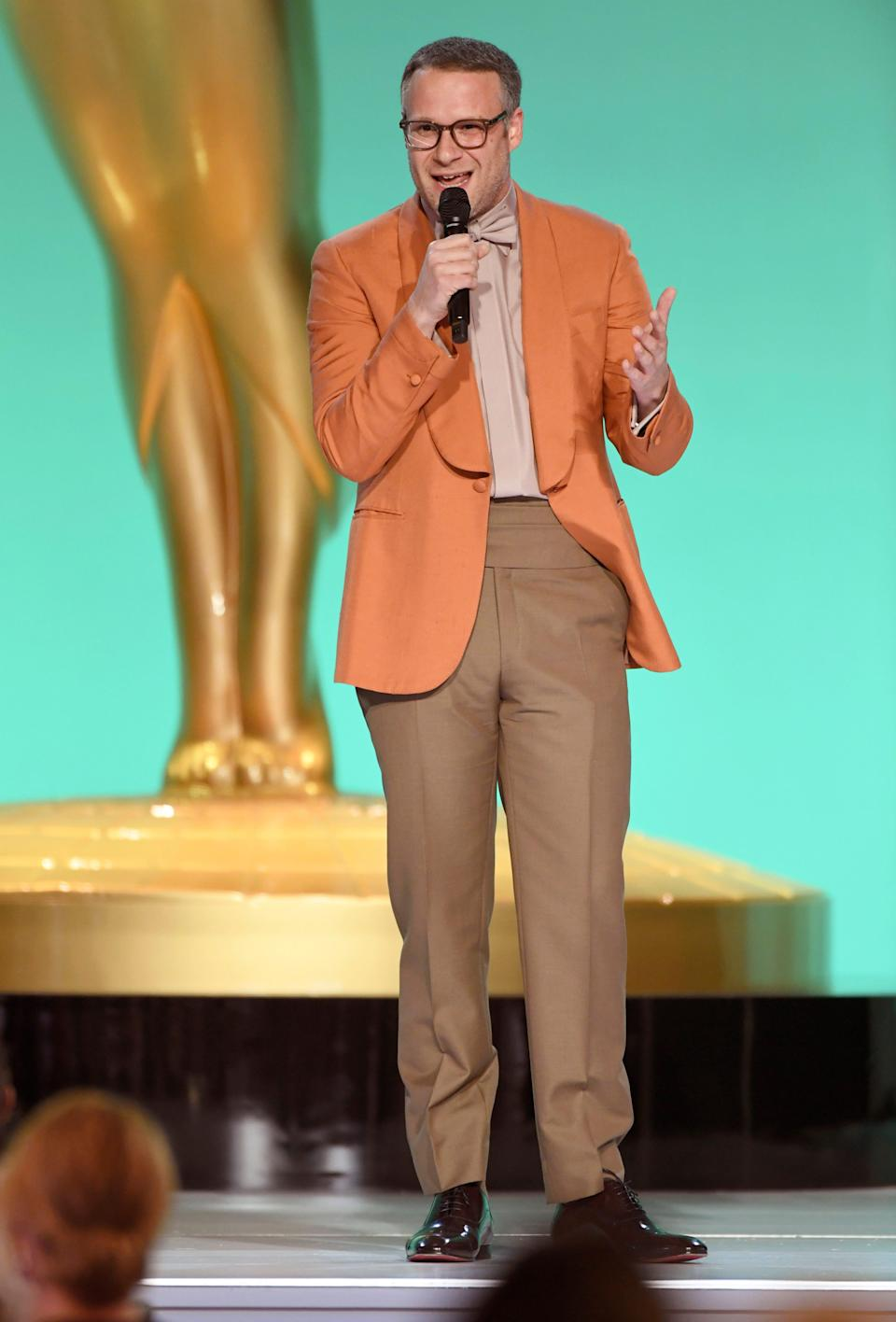 Seth Rogen presents the award for outstanding supporting actress in a comedy series at the 73rd Emmy Awards on Sunday at the Event Deck at L.A. LIVE in Los Angeles.