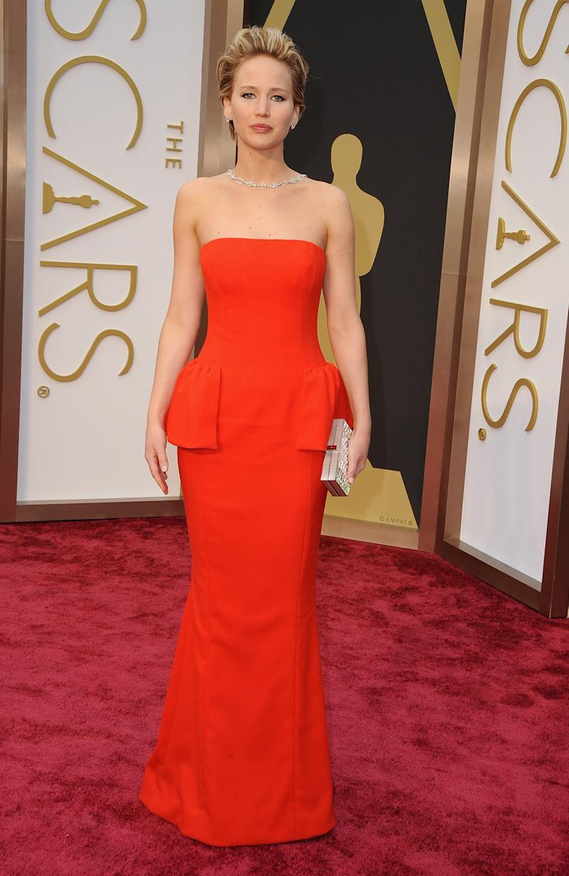 At the 2014 Oscars in Hollywood, California, the actress topped best-dressed lists thanks to this red peplum Dior gown.