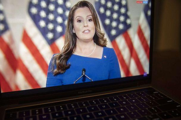 PHOTO: Rep. Elise Stefanik speaks during the Republican National Convention seen on a laptop computer in Tiskilwa, Ill., Aug. 26, 2020. (Bloomberg via Getty Images, FILE)