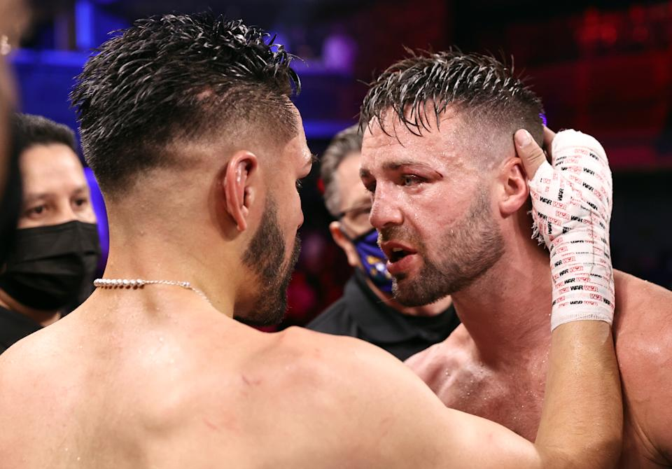 LAS VEGAS, NEVADA - MAY 22: Jose Ramirez (L) and Josh Taylor (R) hug after their fight for the junior welterweight championship at Virgin Hotels Las Vegas on May 22, 2021 in Las Vegas, Nevada. (Photo by Mikey Williams/Top Rank Inc via Getty Images)