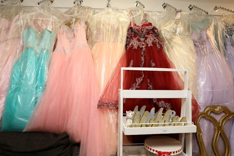 Quinceanera dresses at Bella's Events, which specializes in rentals and sales of anything party related, in Yonkers May 28, 2020. The Acceleration Project, a Scarsdale nonprofit consulting firm that is helping small business survive during the pandemic helped owner Jessica Larios navigate the loans process and adapt her business to online.