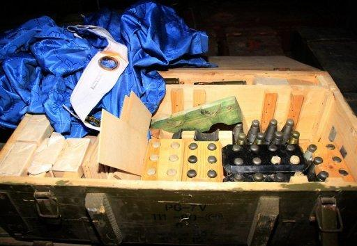 Picture released by the Lebanese army April 28, shows ammunition inside one of the containers of a Sierra Leone-flagged vessel. Lebanese intelligence officers were questioning the crew of the vessel on Sunday over allegations it was carrying arms to Syrian rebels as fighting raged between the insurgents and regular troops