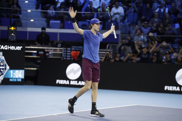 Jannik Sinner of Italy celebrates after winning the ATP Next Gen tennis tournament final match against Alex De Minaur of Australia, in Milan, Italy, Saturday, Nov. 9, 2019. (AP Photo/Luca Bruno)