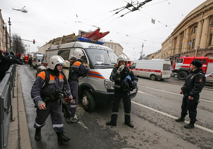 <p>Emergency services personnel are shown at the entrance to Tekhnologichesky Institut metro station in St. Petersburg, Russia, April 3, 2017. A least 10 people were killed Monday in an explosion on the subway in St. Petersburg, Russian news agencies reported.<br> (Peter KovalevTASS via Getty Images) </p>