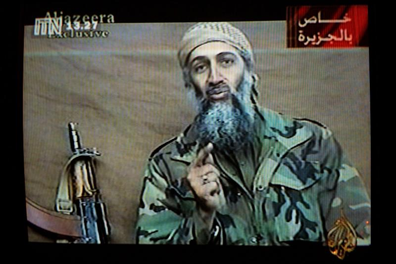 A videotape released by Al-Jazeera TV featuring Osama bin Laden is broadcast in Britain December 27, 2001: Getty Images