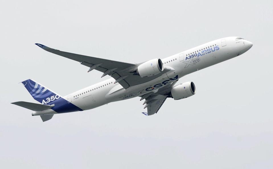 """<p>Built as a <a href=""""https://www.bbc.com/news/business-22899952"""" rel=""""nofollow noopener"""" target=""""_blank"""" data-ylk=""""slk:challenger to Boeing's 787 Dreamliner"""" class=""""link rapid-noclick-resp"""">challenger to Boeing's 787 Dreamliner</a>, the A350 has a more comfortable passenger cabin and incorporates a carbon composite airframe for greater range and fuel efficiency. A standard A350 can <a href=""""https://www.airbus.com/aircraft/passenger-aircraft/a350xwb-family.html"""" rel=""""nofollow noopener"""" target=""""_blank"""" data-ylk=""""slk:fly 8,100 nautical miles"""" class=""""link rapid-noclick-resp"""">fly 8,100 nautical miles</a> and can be reconfigured for ultra-long routes of up to 9,700. </p>"""