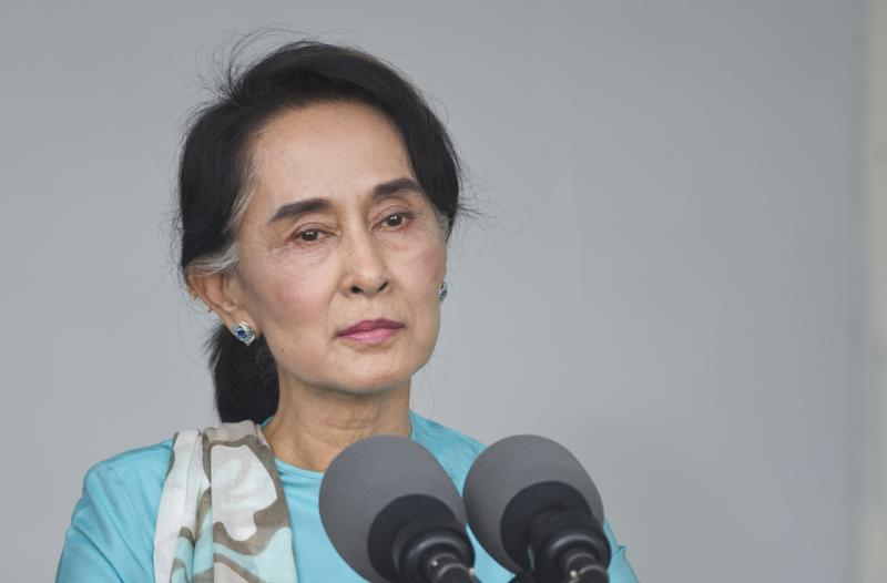 Myanmar's opposition leader Aung San Suu Kyi takes part in a press conference in Yangon, on November 14, 2014 (AFP Photo/Mandel Ngan)