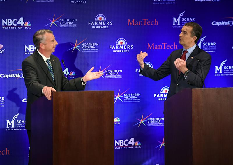 A gubernatorial debate takes place between Republican candidate Ed Gillespie, left, and Democratic Lt. Gov. Ralph Northam on Sept. 19 in McLean, Virginia.