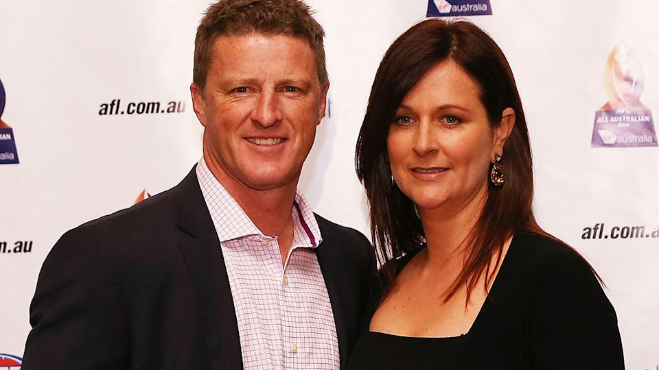 Damien Hardwick, pictured here with wife Danielle at the All Australian Team Announcement in 2014.