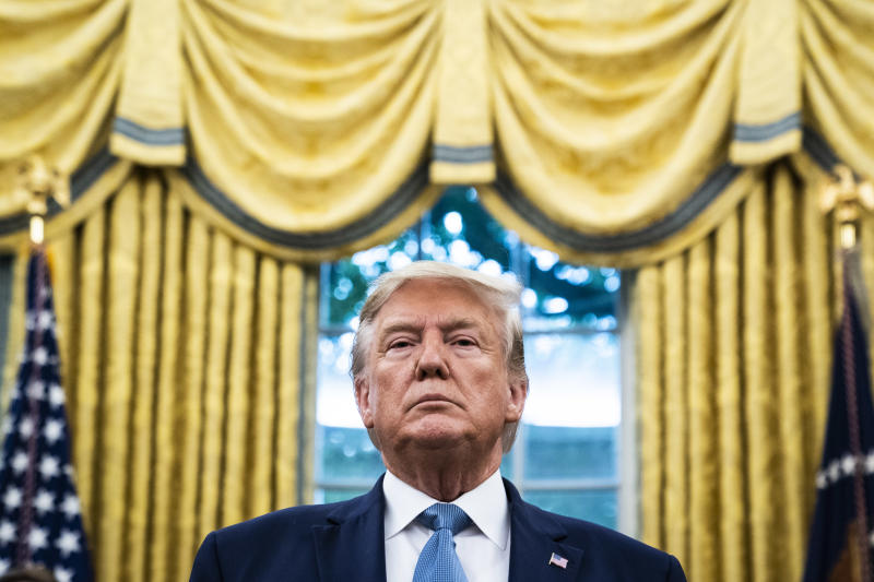 WASHINGTON, DC - OCTOBER 8 : President Donald J. Trump listens during a ceremony to award the Presidential Medal of Freedom to Edwin Meese III in the Oval Office at the White House on Tuesday, Oct 08, 2019 in Washington, DC. (Photo by Jabin Botsford/The Washington Post via Getty Images)