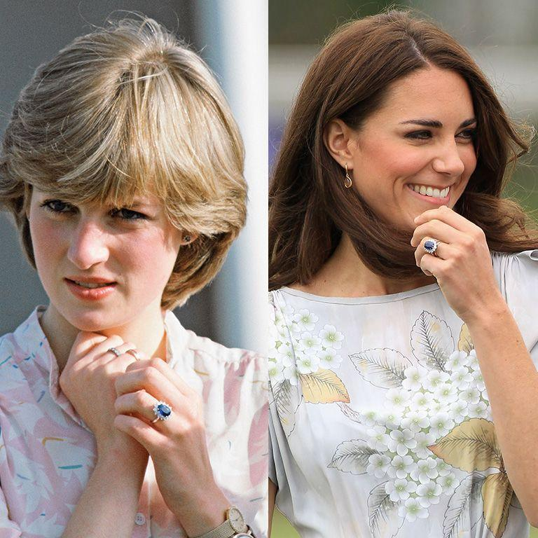 """<p>Perhaps the most famous piece of jewelry Kate inherited from Princess Diana is <a href=""""https://www.townandcountrymag.com/style/jewelry-and-watches/a13052347/kate-middleton-engagement-ring/"""" rel=""""nofollow noopener"""" target=""""_blank"""" data-ylk=""""slk:this sapphire engagement ring."""" class=""""link rapid-noclick-resp"""">this sapphire engagement ring.</a> The ring was created by British jeweler Garrard and chosen by Prince Charles for his proposal to Diana in 1981. In 2010, Prince William presented the ring, which features a 12-carat oval Ceylon surrounded by 14 solitaire diamond, to Kate for their engagement. </p>"""