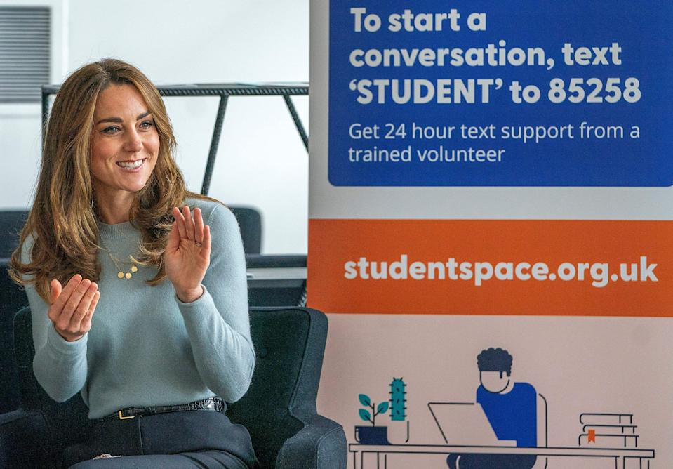 Britain's Catherine, Duchess of Cambridge reacts during her visit to the University of Derby in Derby, central England, on October 6, 2020, where she met students to hear how the coronavirus pandemic has impacted university life, and what national measures have been put in place to support student mental health. (Photo by Arthur EDWARDS / various sources / AFP) (Photo by ARTHUR EDWARDS/AFP via Getty Images)