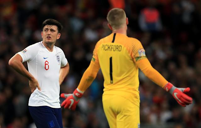 Jordan Pickford leads the enquiry after gifting Spain the second goal