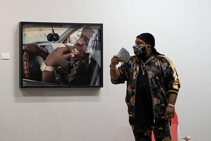 """This piece was part of """"Off the Plantation, Part 1"""" at Elder Gallery. It featured Ty Exotic, a character developed by artist Will Jenkins, seen here."""