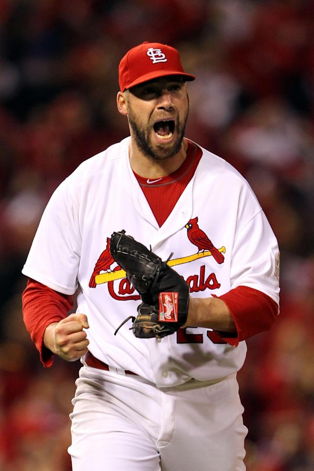 ST LOUIS, MO - OCTOBER 28: Chris Carpenter #29 of the St. Louis Cardinals reacts after striking out Michael Young #10 of the Texas Rangers to end the top of the fifth inning during Game Seven of the MLB World Series at Busch Stadium on October 28, 2011 in St Louis, Missouri. (Photo by Jamie Squire/Getty Images)