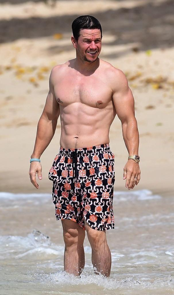 Mark Wahlberg at the beach in Barbados. Source: Splash