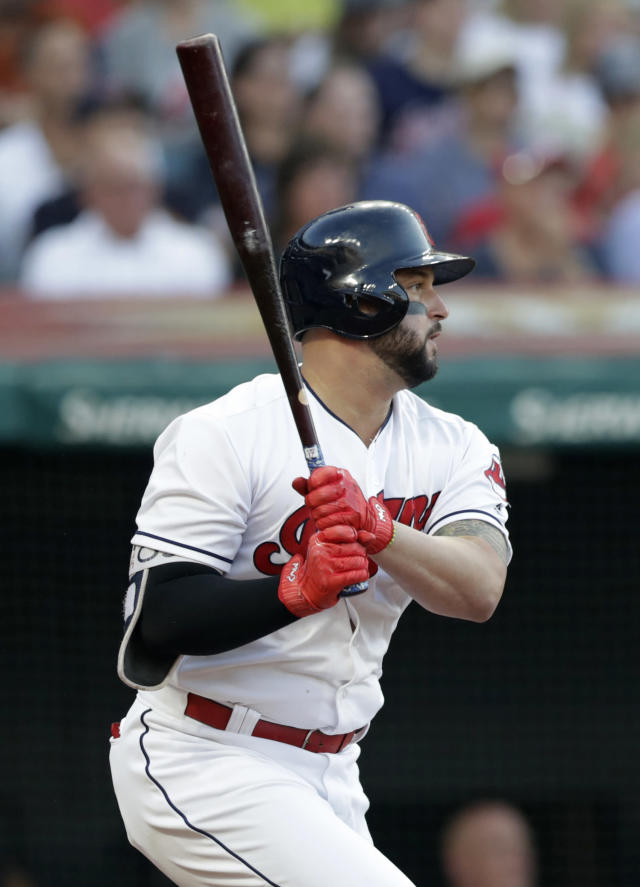 Cleveland Indians' Yonder Alonso watches his RBI-single off New York Yankees starting pitcher Luis Severino during the third inning of a baseball game Thursday, July 12, 2018, in Cleveland. (AP Photo/Tony Dejak)