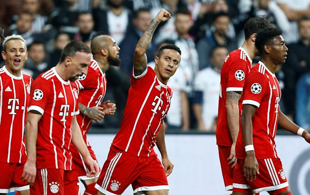 Soccer Football - Champions League Round of 16 Second Leg - Besiktas vs Bayern Munich - Vodafone Arena, Istanbul, Turkey - March 14, 2018 Bayern Munich's Thiago Alcantara celebrates scoring their first goal REUTERS/Osman Orsal