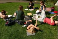 <p>A beautiful spring day is the perfect opportunity to get in some outdoor study time on a college campus in the Northeast.</p>
