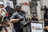 Terrence Floyd, brother of George Floyd, speaks during a rally on Sunday, May 23, 2021, in Brooklyn borough of New York. George Floyd, whose May 25, 2020 death in Minneapolis was captured on video, plead for air as he was pinned under the knee of former officer Derek Chauvin, who was convicted of murder and manslaughter in April 2021. (AP Photo/Eduardo Munoz Alvarez)