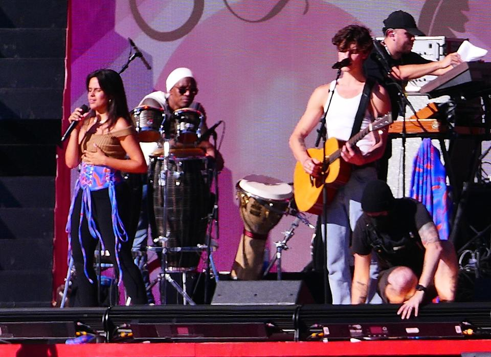 Camila Cabello and Shawn Mendes perform at Global Citizen Live in New York City. - Credit: Brian Prahl/MEGA