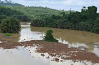 Swathes of river bed have been exposed by the drought
