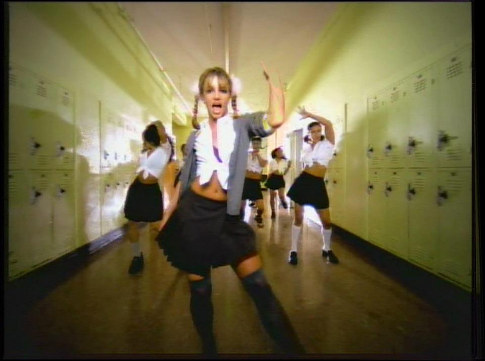 This is a frame grab from the 1998 Britney Spears music video Baby One More Time. (Via MerlinFTP Drop)