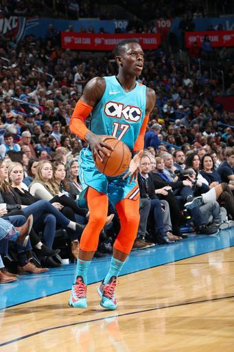 OKLAHOMA CITY, OK- JANUARY 12: Dennis Schroder #17 of the Oklahoma City Thunder shoots a three-pointer during the game against the San Antonio Spurs on January 12, 2019 at Chesapeake Energy Arena in Oklahoma City, Oklahoma. (Photo by Zach Beeker/NBAE via Getty Images)