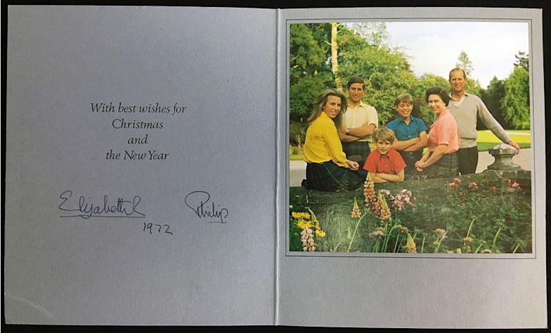 Princess Anne, Prince Charles, Prince Edward, Prince Andrew, Queen Elizabeth and Prince Philip in 1972's Christmas card | Rowleys/BNPS