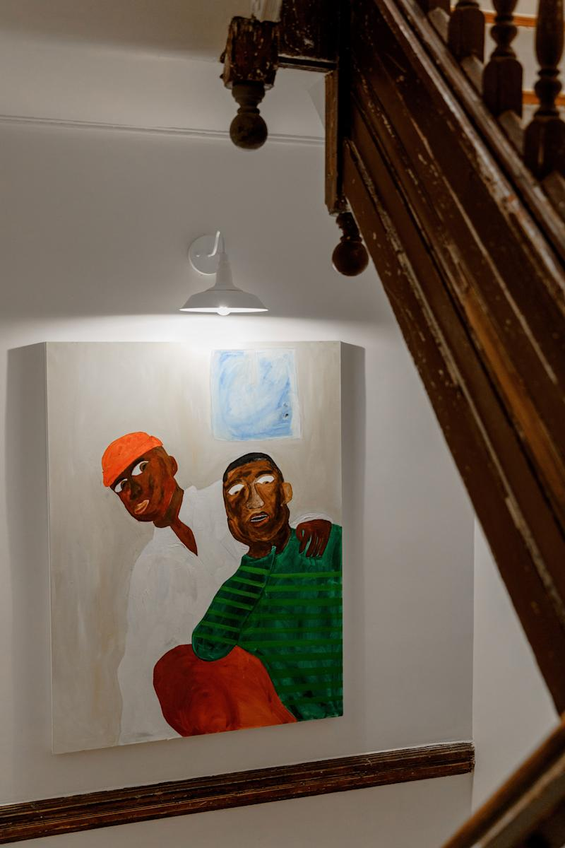 The space is filled with art from Brooklyn artist Marcus Leslie.