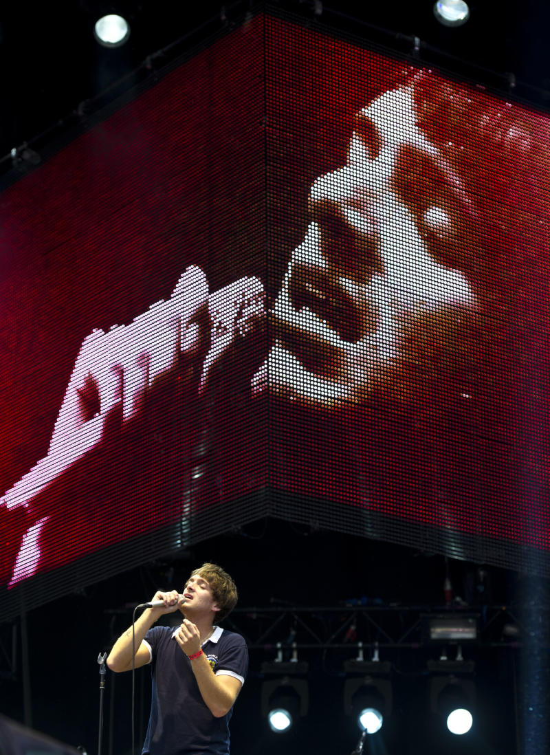British singer Paolo Nutini performs at the Opening Ceremony Celebration Concert in Hyde Park, London, Friday, July 27, 2012. The concert is part of a series of events being organised by the Mayor of London Boris Johnson, to celebrate the London 2012 Olympic Games. (AP Photo/James McCauley)
