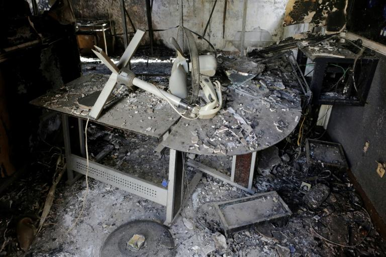"View of the destroyed facilities of Leon's ""Radio Dario,"" an opposition station that was set ablaze by a group of youths"
