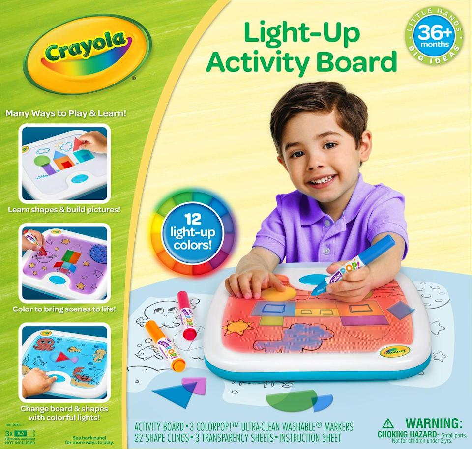 <p>With this light-up board, kids can try their hands at color-mixing in addition to shape recognition. The set comes with 22 shape clings, 12 colored lights, three markers and three transparency sheets, and the board has storage for all the pieces.</p><p><em>Ages 3+<br>$25<br>Available Summer 2021</em></p>