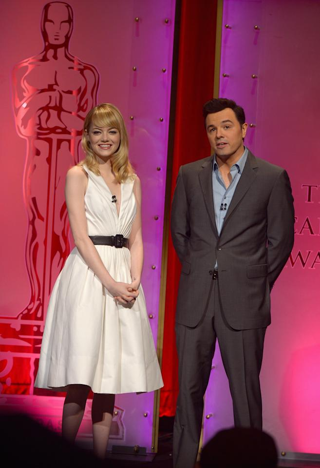 BEVERLY HILLS, CA - JANUARY 10:  Emma Stone and Seth MacFarlane announce the nominees at the 85th Academy Awards Nominations Announcement at the AMPAS Samuel Goldwyn Theater on January 10, 2013 in Beverly Hills, California.  (Photo by Kevin Winter/Getty Images)