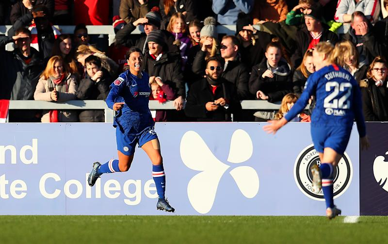 Sam Kerr scored her first goal for Chelsea in the Women's Super League during a drubbing of Arsenal. (Catherine Ivill/Getty Images)