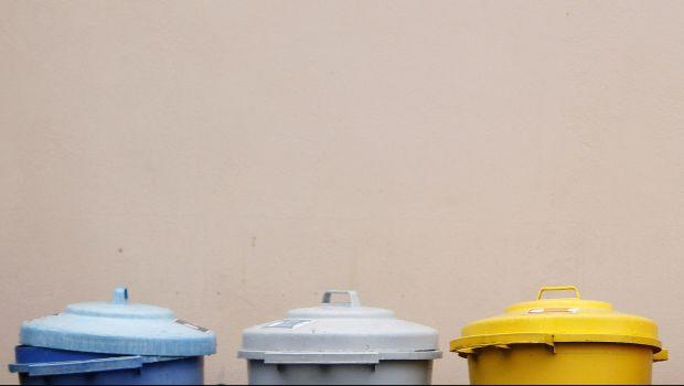 Recycling bins are seen at the Centre for Alternative Technology in Wales