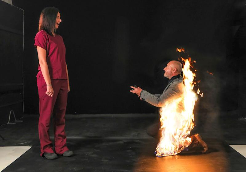 Stuntman Engulfs Himself in Flames to Pop the Question to Girlfriend: 'The Perfect Proposal'