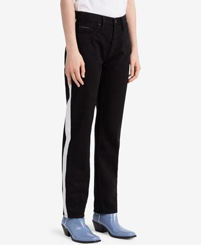 "<p>Vertica Striped Straight Jeans, $90 (on sale with code: VIP, valid until March 25 only, orig. $128), <a href=""https://www.macys.com/shop/product/calvin-klein-jeans-striped-black-straight-jeans?ID=5904500&CategoryID=3111"" rel=""nofollow noopener"" target=""_blank"" data-ylk=""slk:macys.com"" class=""link rapid-noclick-resp"">macys.com </a> </p>"